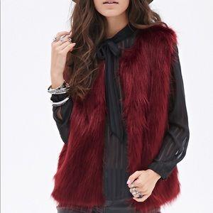 Forever 21 Burgundy Faux Fur Vest